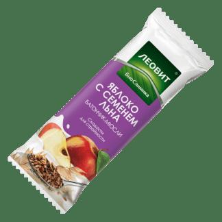 Батончик-мюсли Леовит с яблоком и семенем льна