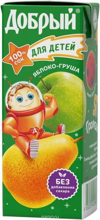 Сок Добрый 0,2л яблоко-груша 5+