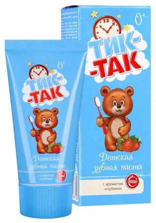 Зубная паста Тик-Так 62г с ароматом клубники 0+