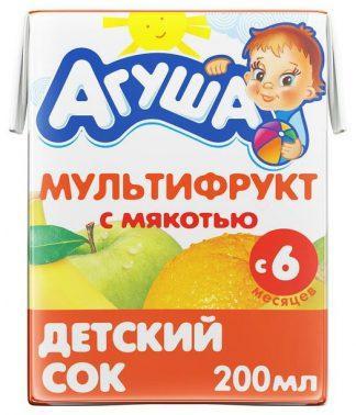 """Сок """"Агуша"""" 200 мл мультифрукт с мякотью"""