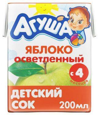 """Сок """"Агуша"""" 200 мл яблоко осветленное"""
