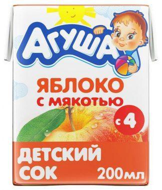 """Сок """"Агуша"""" 200 мл яблоко с мякотью"""