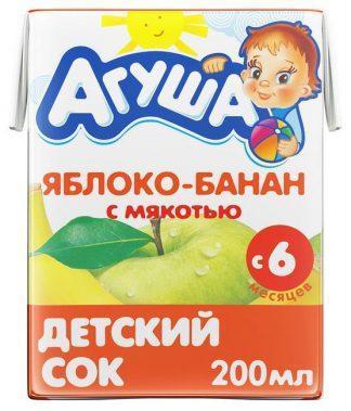 """Сок """"Агуша"""" 200 мл яблоко-банан с мякотью"""