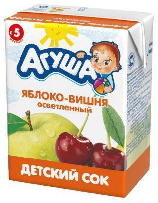"""Сок """"Агуша"""" 200 мл яблоко-вишня осветл."""