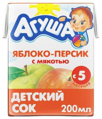 """Сок """"Агуша"""" 200 мл яблоко-персик с мякотью"""