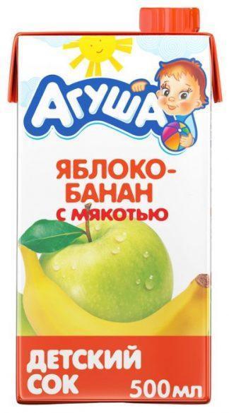 """Сок """"Агуша"""" 500 мл яблоко-банан с мякотью"""
