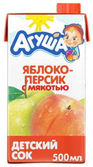 """Сок """"Агуша"""" 500 мл яблоко-персик с мякотью"""