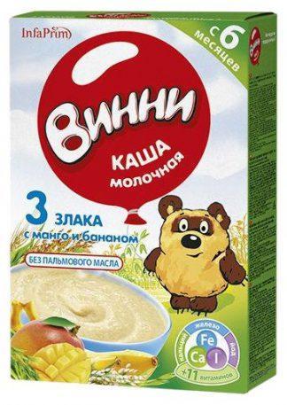 Каша Винни молочн.200 г 3 злака с манго и банано